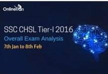SSC CHSL Tier I Overall Exam Analysis: 6th Jan to 8th Feb 2017