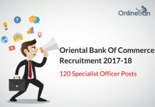 OBC Recruitment 2017-18: Apply Now for 120 Specialist Officer Posts