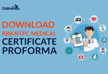 Download RRB NTPC Medical Certificate Proforma