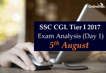 SSC CGL Tier 1 Exam Analysis 2017, Expected Cutoff: 5 August