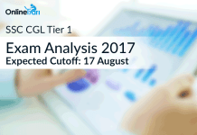 SSC CGL Tier 1 Exam Analysis 2017, Expected Cutoff: 17 August