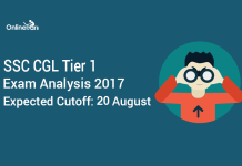 SSC CGL Tier 1 Exam Analysis 2017, Expected Cutoff: 20 August