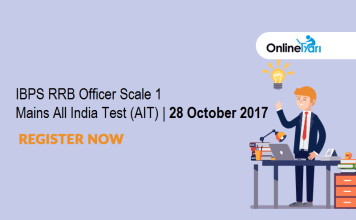 IBPS RRB Officer Scale 1 Mains All India Test (AIT)   28 October 2017: Register Now