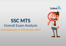 SSC MTS Overall Exam Analysis: 16th September to 13th October 2017