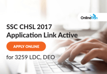 SSC CHSL Application Form 2017: Apply Online for 3259 LDC, DEO