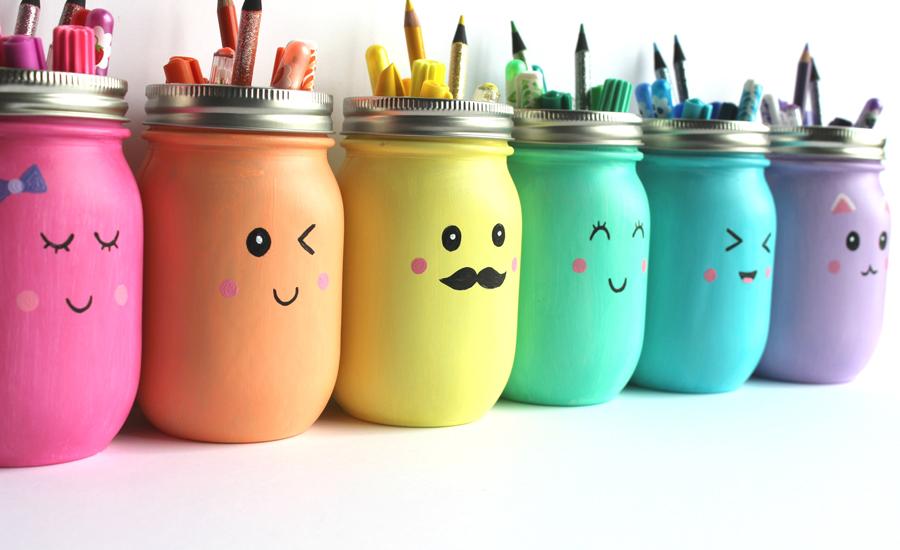 Kawaii Inspired Diy Mason Jar Pen Marker And Pencil