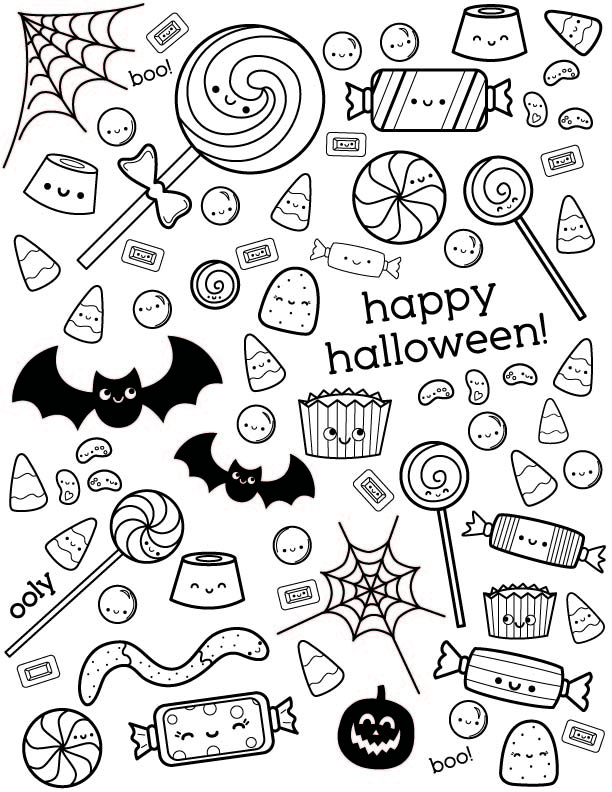 Halloween Coloring Page with Cute Candy OOLY
