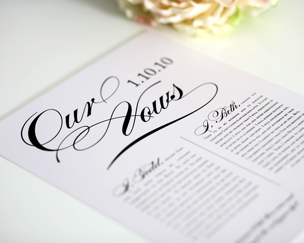 wedding vows first anniversary gift him 1st wedding anniversary gift Vows1