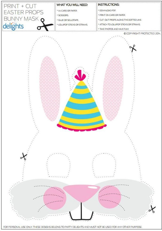 Free Printable Easter Bunny Mask Party Delights Blog