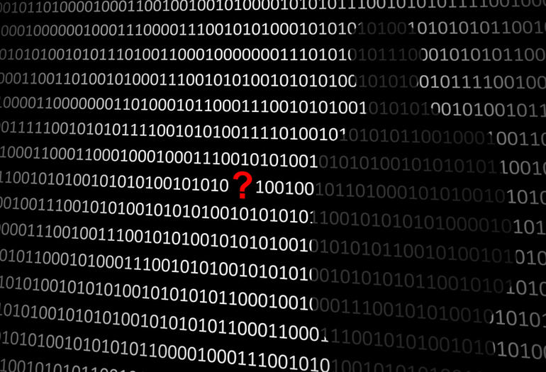 Anonymous hacker without face and question mark - binary code background