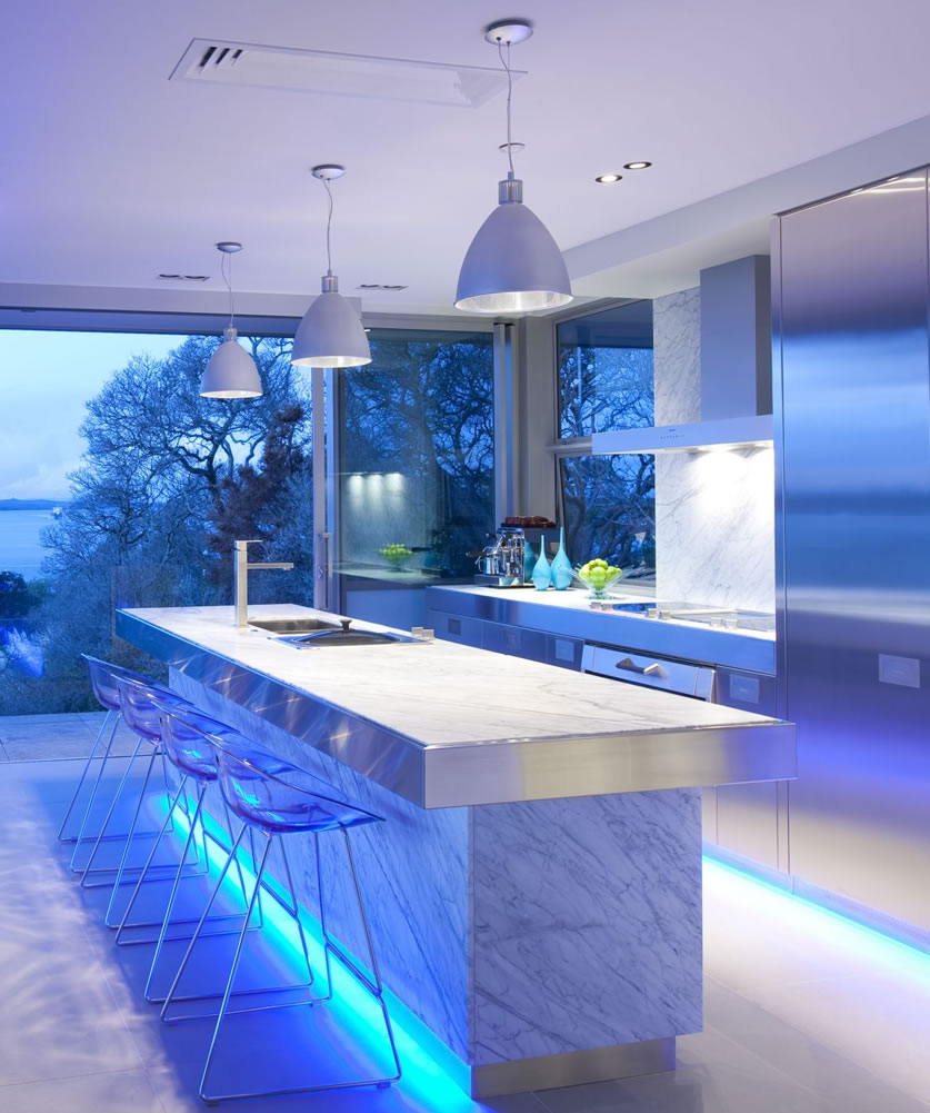 the magic of color changing kitchen lights kitchen lighting Image via KitchenMaking com