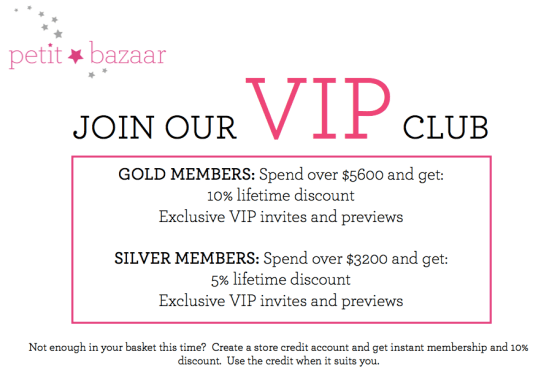 VIP CLUB Membership at petit bazaar hong kong