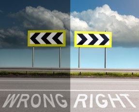 Concept on the road, wrong or right direction