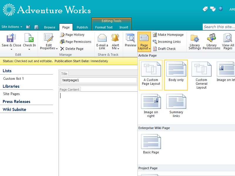 SharePoint 2010 Create a Custom Page Layout for a Publishing Site
