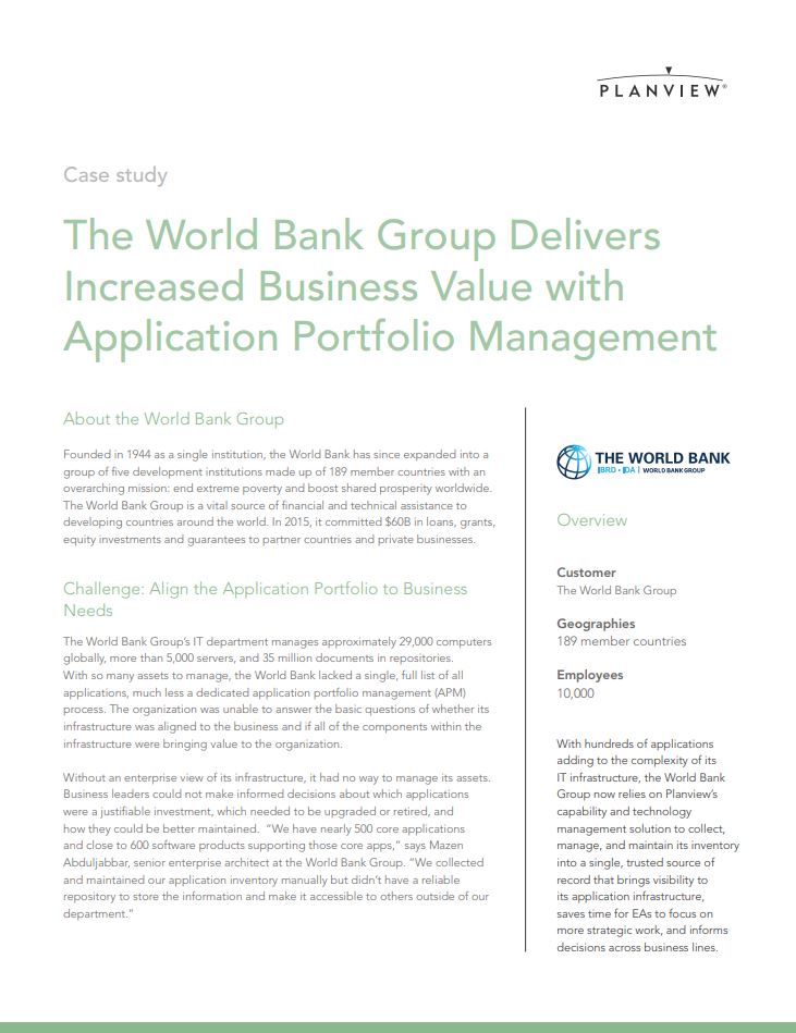 The World Bank Group Delivers Value with APM - Blog Planview