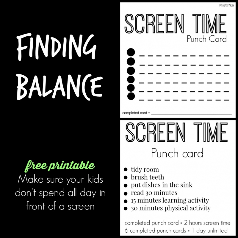 Screen Time Punch Cards - Play Dr Mom - punch cards