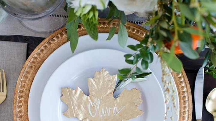 DIY Gold Leaf Place Card