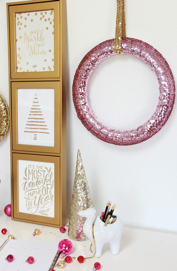Diy sparkle sequin wreath pottery barn for American style christmas decorations