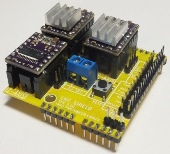 Arduino CNC Shield Pololu Stepper Drivers Installed Arduino CNC Shield   100% GRBL Compatable