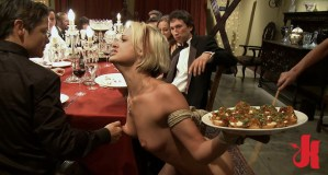 Blonde and petite slave is tied up, has her nipples pinched and forced to serve an appetizer