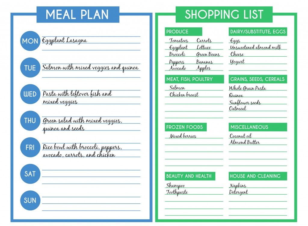 The #1 Time Saving Tip For Healthy Eating PureFormulas - meal planning template with grocery list