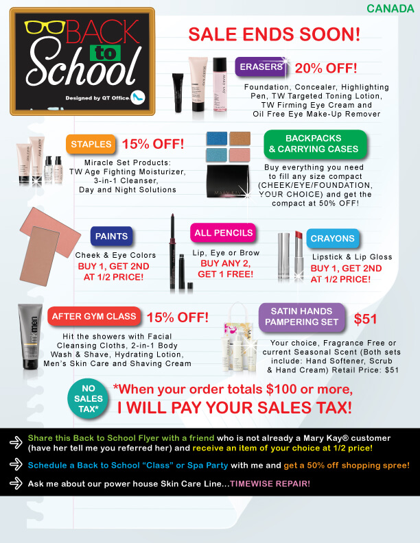 Mary Kay® Back to School Sale Flyer - QT Office® Blog - Free Mary - back to school flyers