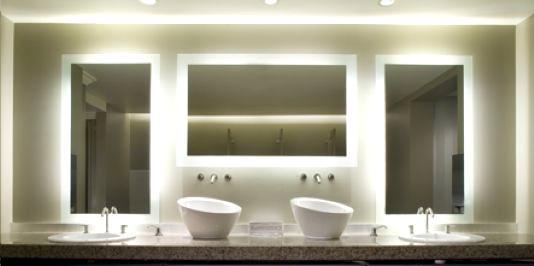 Image Of Lighted Mirror Bathroom