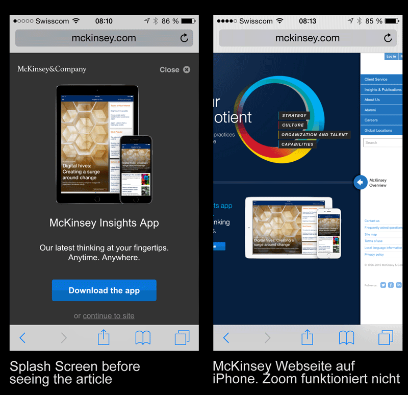 McKinsey Webseite auf dem iPhone