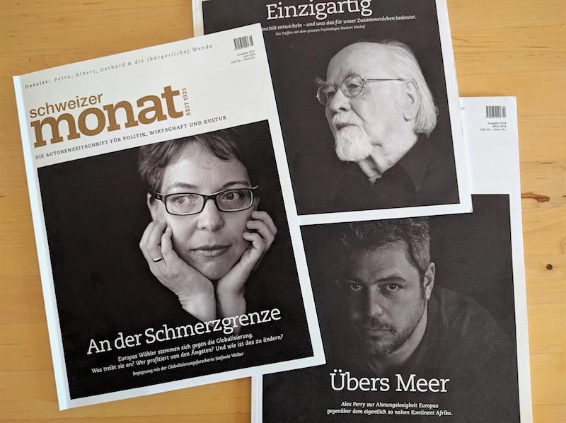 «Schweizer Monat», drei Ausgaben von 2016
