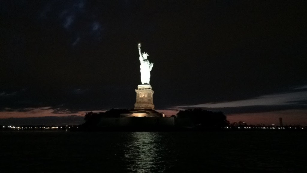 captain matt codner view of statue of liberty at night