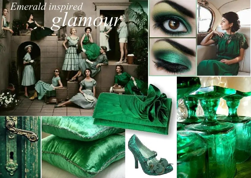emerald glamour mood board