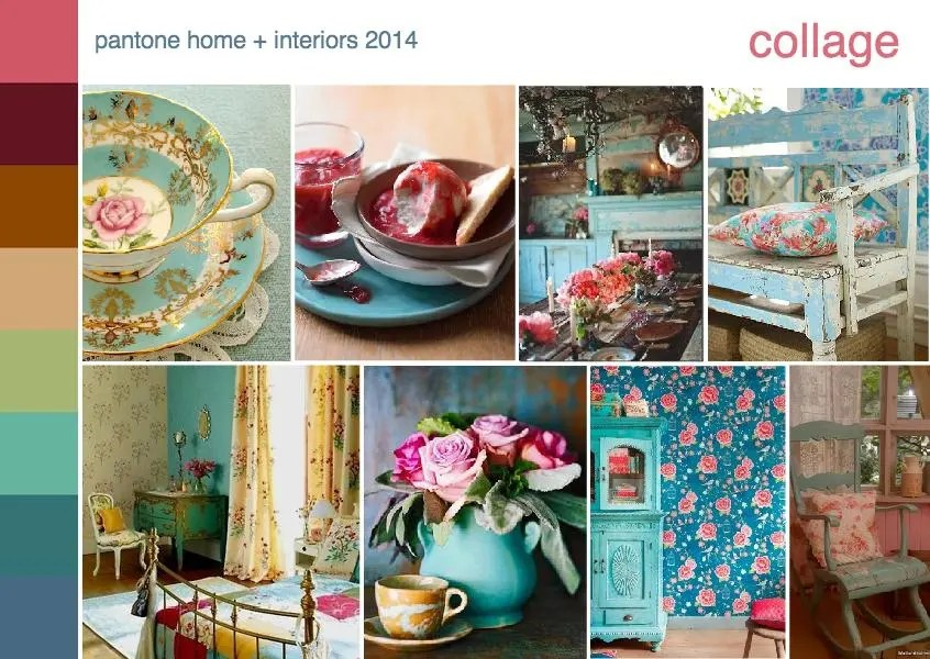 pantone color trend collage interior design mood board