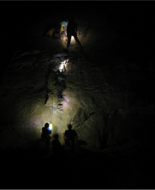 Climbing up cave walls