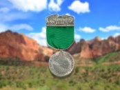 Hornaday-medal-on-Utah-background