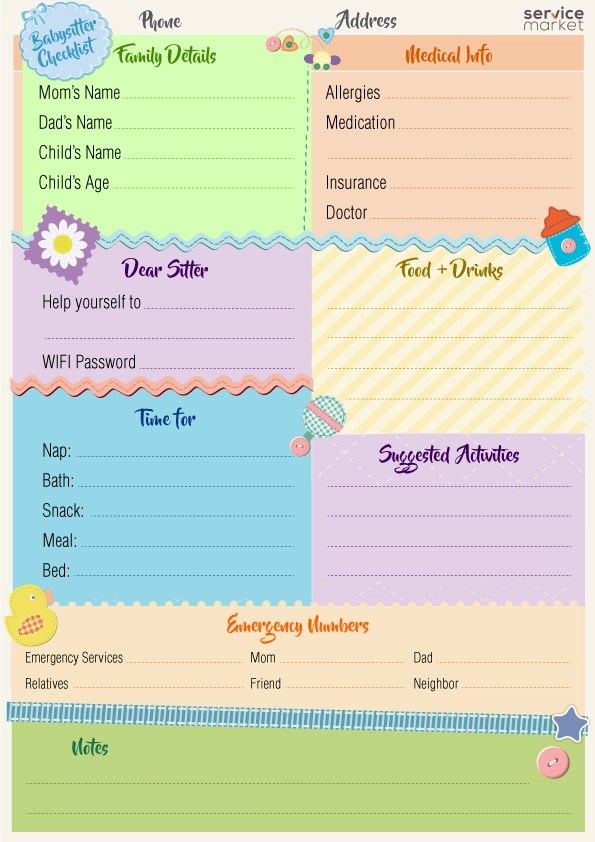 A Must-Have Checklist for the Babysitter - The Home Project