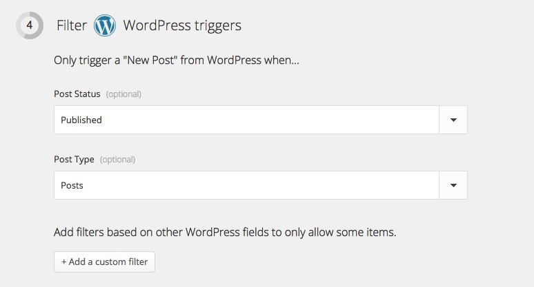 Zapier: Filter Wordpress triggers
