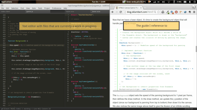 A screenshot showing the text editor on one half of the screen and the tutorial on the other half