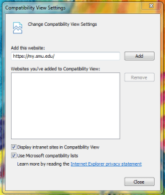 Compatability View Settings