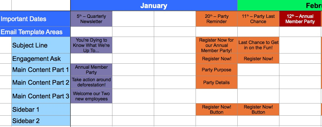 A Template for Calendaring Your Messaging Aspiration - important dates template