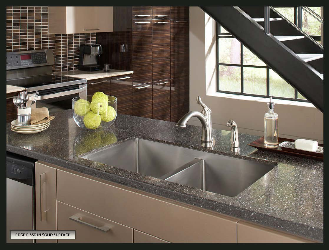 choose sink solid surface countertops stainless steel kitchen countertops Karran Stainless Steel Seamless Undermount Double Kitchen Sink