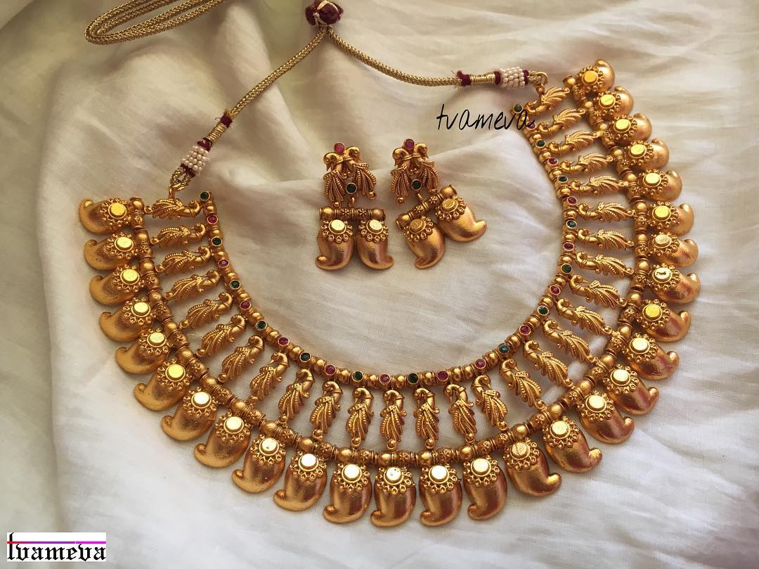 Mala Design 21 Traditional Mango Mala Necklace Designs South India Jewels