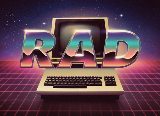 Showcase of Rad Retro Designs with 80s Style Chrome Text Effects