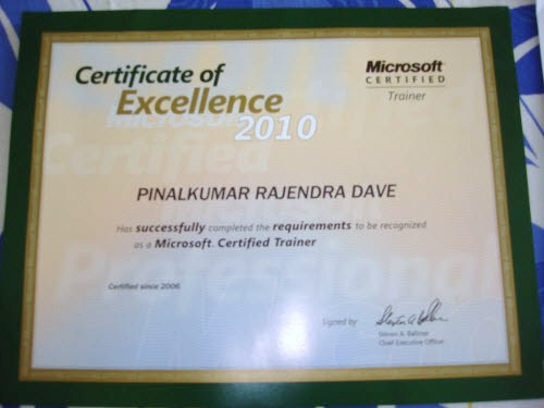 SQLAuthority News - I am Microsoft Certified Trainer (MCT) - SQL - microsoft certificate of excellence