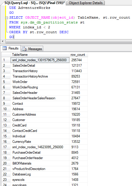 SQL SERVER - Find Row Count in Table - Find Largest Table in