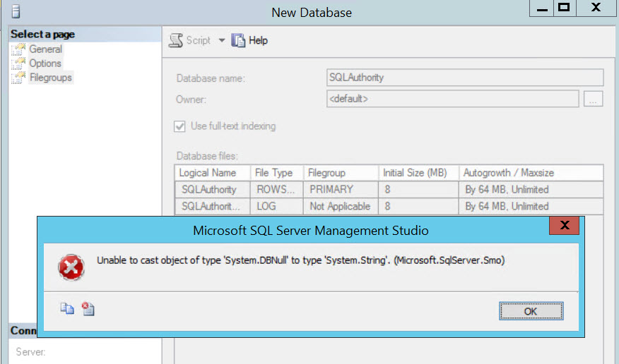 SQL SERVER - Unable to cast object of type \u0027SystemDBNull\u0027 to type