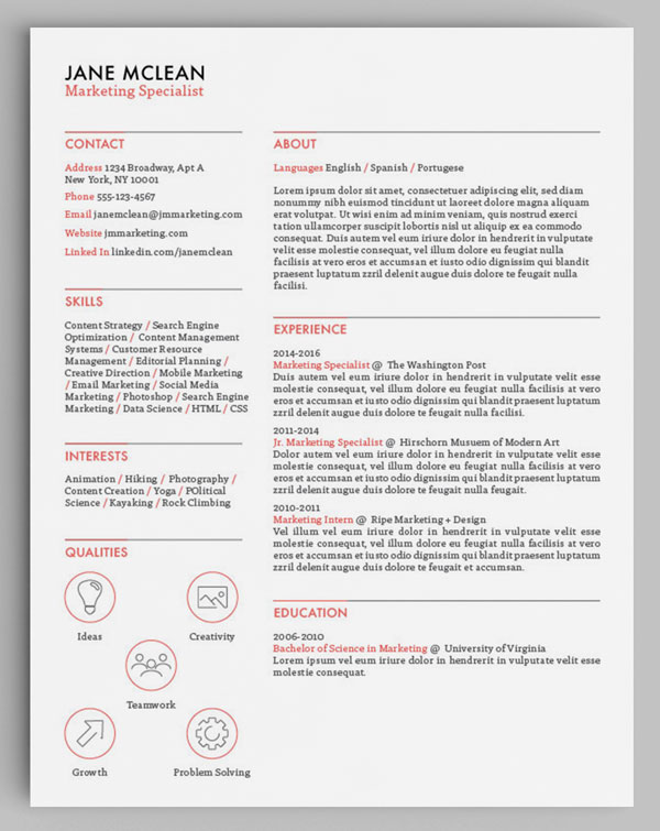 How to Design Unique Resumes with Stock Vectors - Storyblocks Blog - font on resume