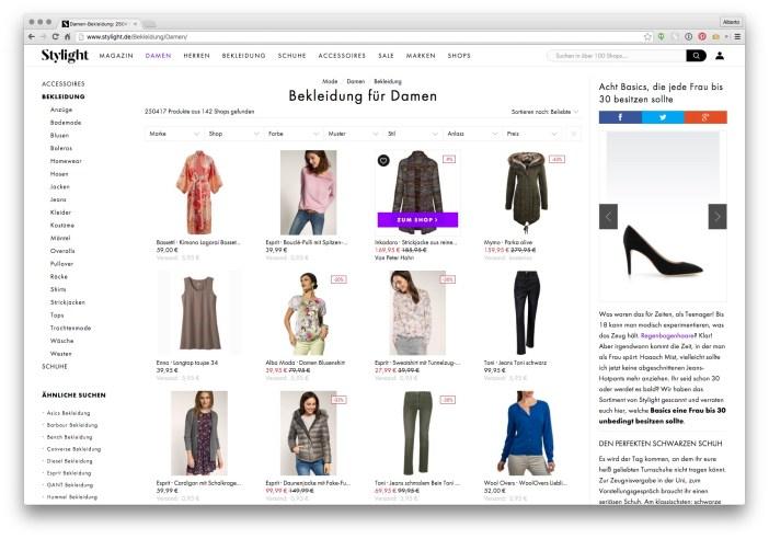 Stylight website - corporate identity before rebranding