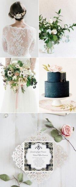 Deluxe Glitter Glamorous Black Winter Wedding Color Palette Ideas Winter Wedding Colors G Winter Wedding Colors 2015 Damask Wedding Invitations Vintage Black