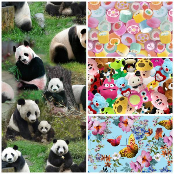 Digitaldruck von Swafing mit Pandas, Kuscheltieren, Bonbons oder Schmetterlingen